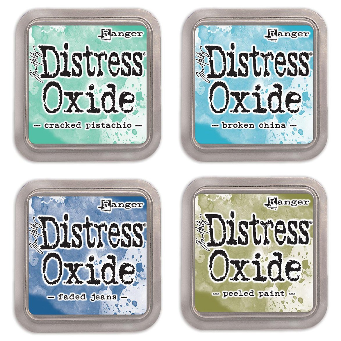 Ranger Tim Holtz Distress Oxide Ink Pads Bundle of 4 Colors - Cracked Pistachio, Broken China, Faded Jeans and Peeled Paint