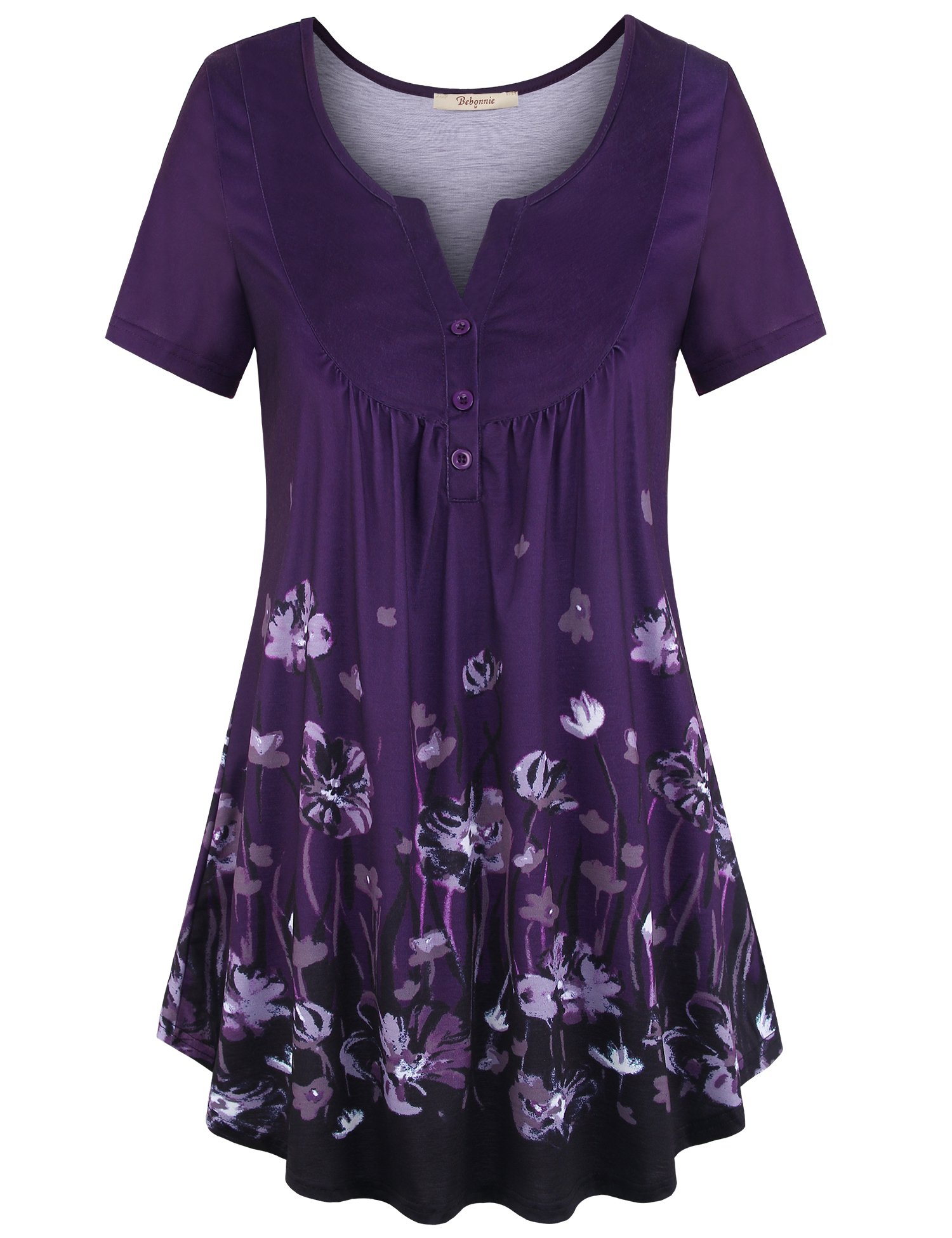 Bebonnie Women's Vintage Short Sleeve V Neck Pleated Tunic Shirt Multicolor Violet XXXL