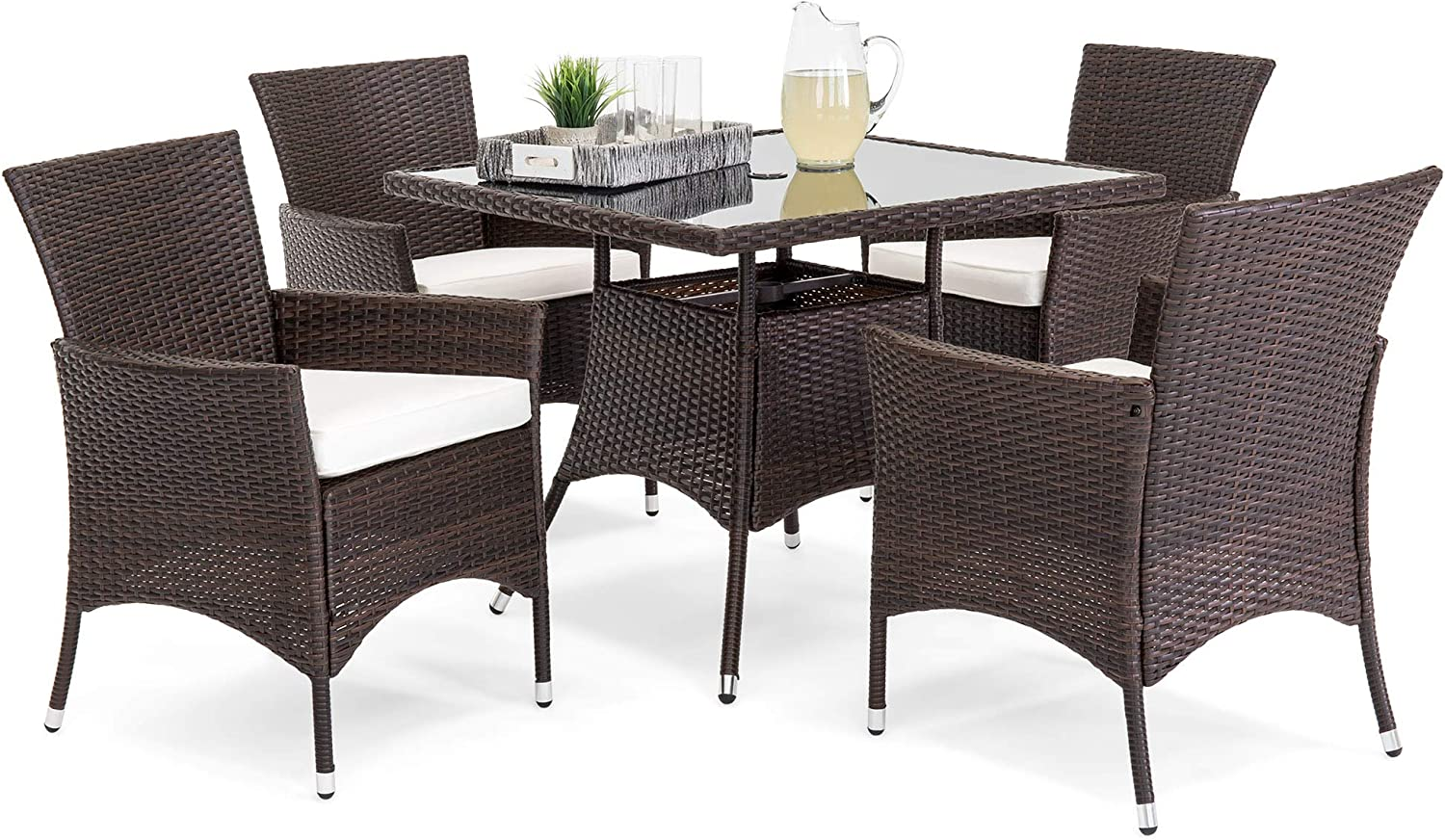Best Choice Products 5-Piece Indoor Outdoor Wicker Patio Dining Set Furniture w Table, Umbrella Cut Out, 4 Chairs -Brown