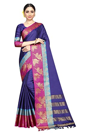 898de390313cd Vastram Fashion Women s Poly Cotton Saree with Blouse Piece (Blue   Pink)   Amazon.in  Clothing   Accessories