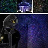 Laser Christmas Lights Outdoor RGB Stars Projector LSIKA-Z Remote controllable Red Green and Blue Christmas Laser Lights for Holiday Party House Garden Decoration