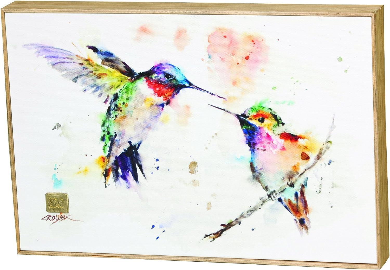 Dean Crouser Framed Watercolor Canvas Print The Love Birds Hummingbirds