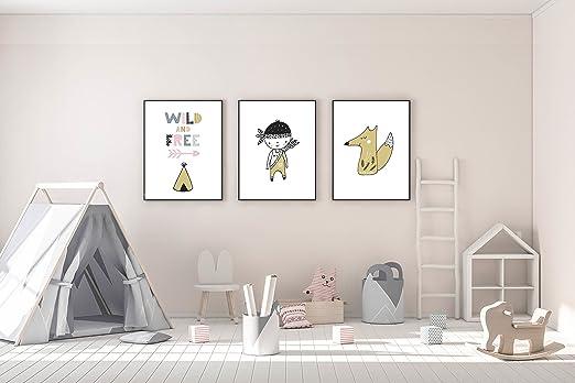 Kinderposter 3er Set Motiv Wild And Free Kinderzimmer