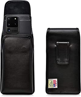 product image for Turtleback Holster Designed for Galaxy S20 Ultra (2020) Vertical Belt Case Black Leather Pouch with Executive Belt Clip, Made in USA
