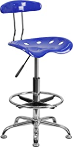Flash Furniture Vibrant Nautical Blue and Chrome Drafting Stool with Tractor Seat