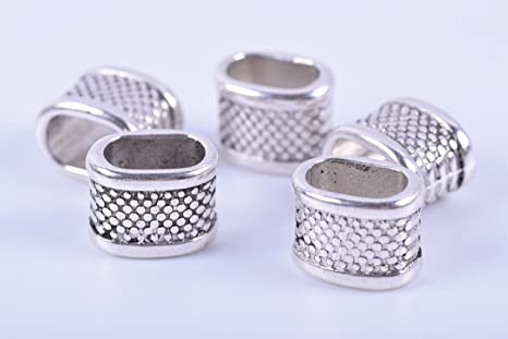 10Pcs Antique Silver Open Heart Sliders Spacer Beads Fit 10*6mm Licorice Leather