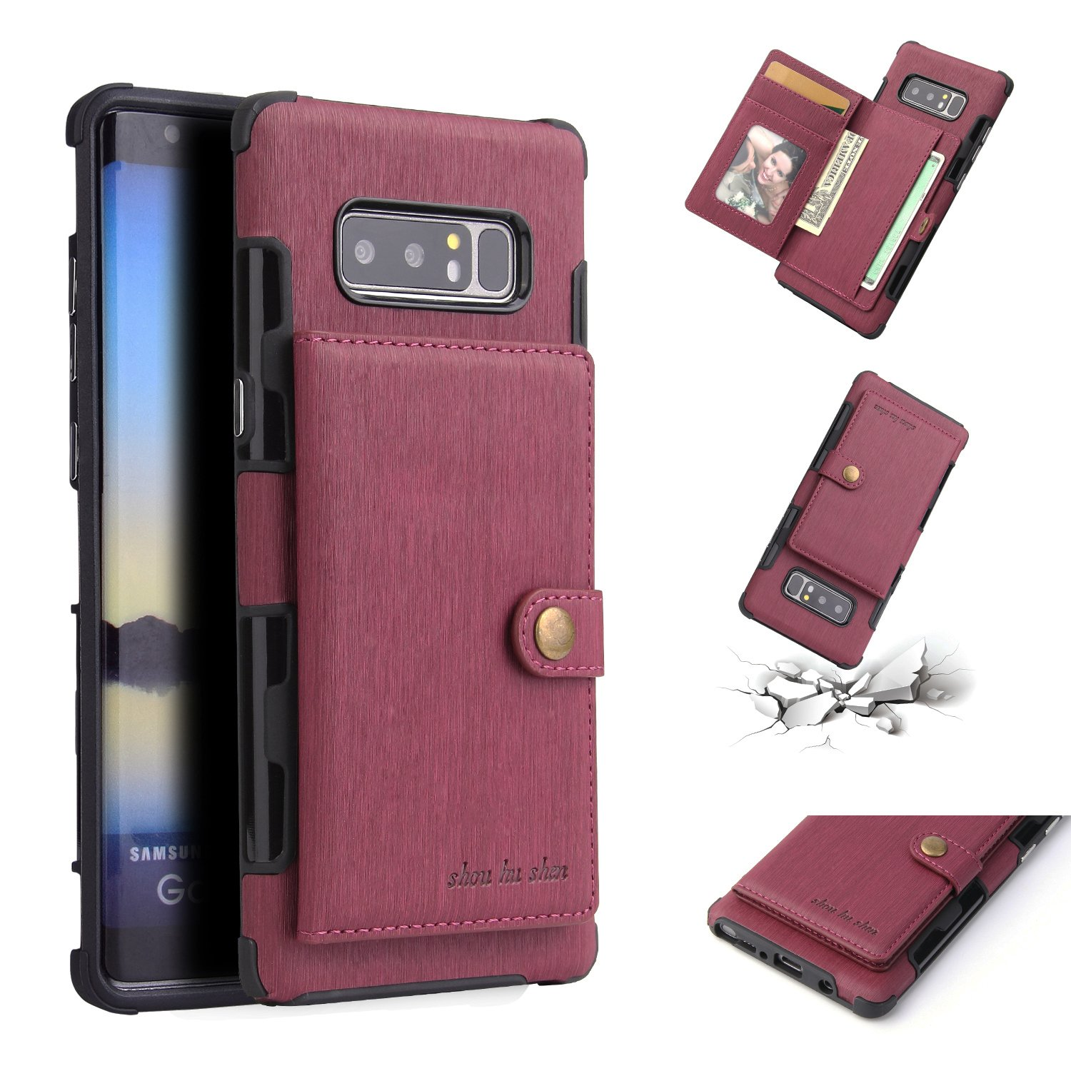DAMONDY Galaxy Note 8 Case,Luxury Brushed Wallet Card Holders Slot Design Cover Soft Shockproof Bumper Premium Leather Magnetic Protective Case for Samsung Galaxy Note 8-Wine red
