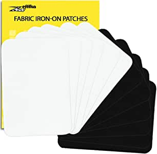 """ZEFFFKA Premium Quality Fabric Iron-on Patches Inside & Outside Strongest Glue 100% Cotton Black and White Repair Decorating Kit 12 Pieces Size 3"""" by 4-1/4"""" (7.5 cm x 10.5 cm)"""