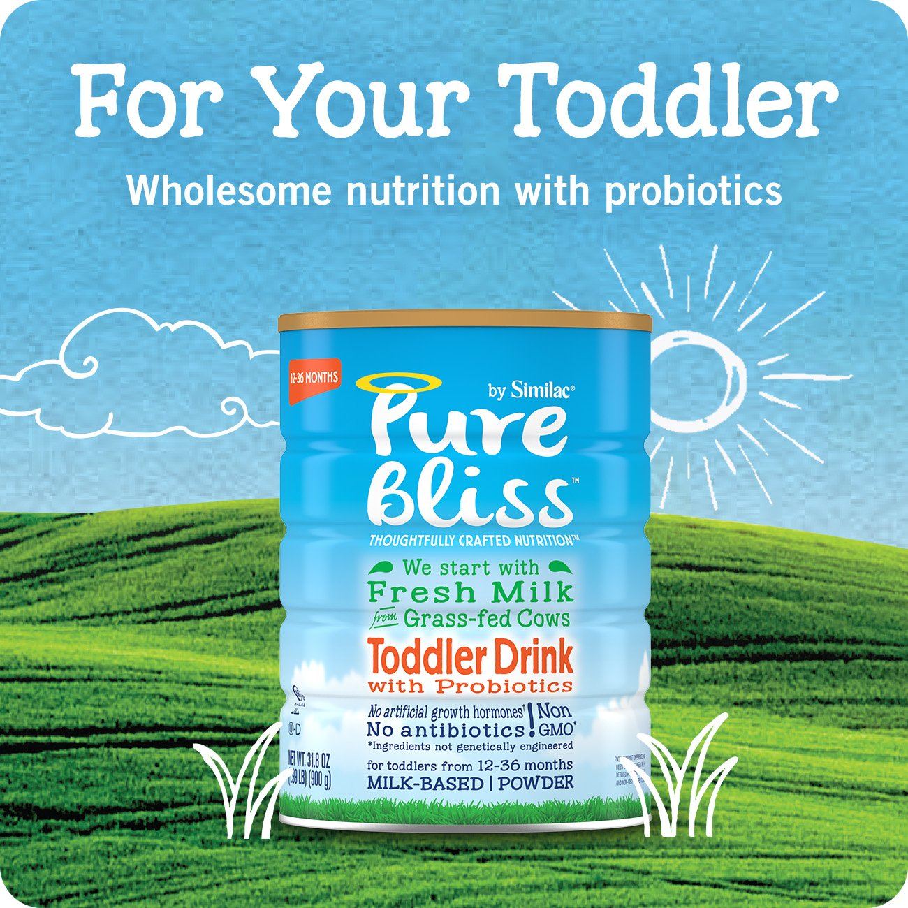 Pure Bliss by Similac Toddler Drink with Probiotics, Starts with Fresh Milk from Grass-Fed Cows, 12.4 ounces (Pack of 4) by Similac (Image #5)