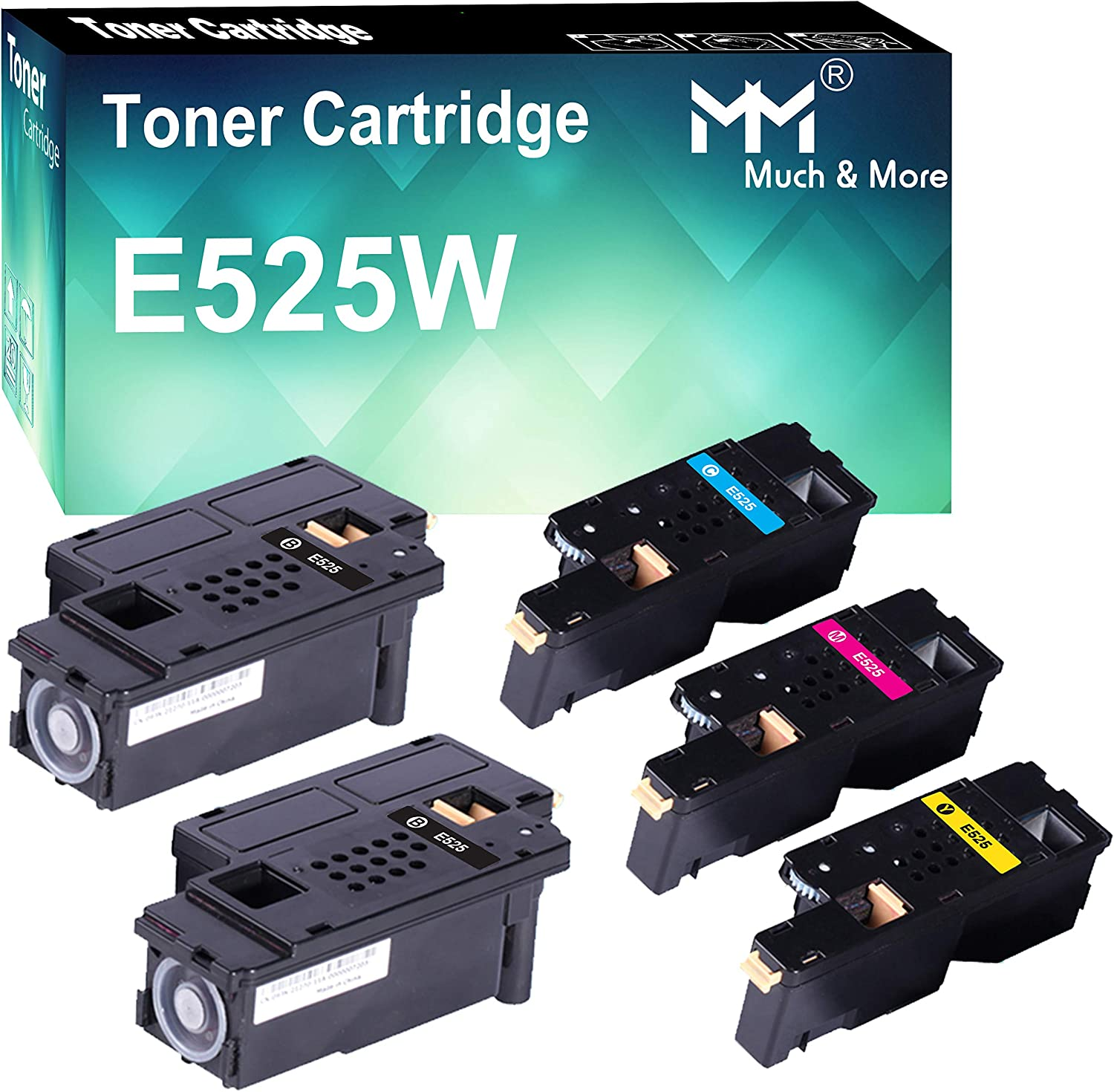 (5-Pack, 2X K+C+M+Y) Compatible Toner Cartridge Replacement for Dell E525W E525 Dell E525W Wireless Color Laser Printer for 593-BBJX 593-BBJU 593-BBJV 593-BBJW, by MuchMore