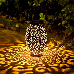 OxyLED Solar Lantern, LED Solar Garden Lights Outdoor, 2 Pack Hanging Lanterns Solar Powered with Handle Waterproof, Decorative Retro Metal Solar Lights for Table Patio Yard Pathway Walkway Christmas