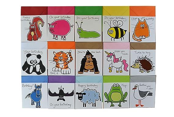 15 x animales Tarjetas de cumpleaños Paragolpes Pack de tarjetas.: Amazon.es: Ropa y accesorios