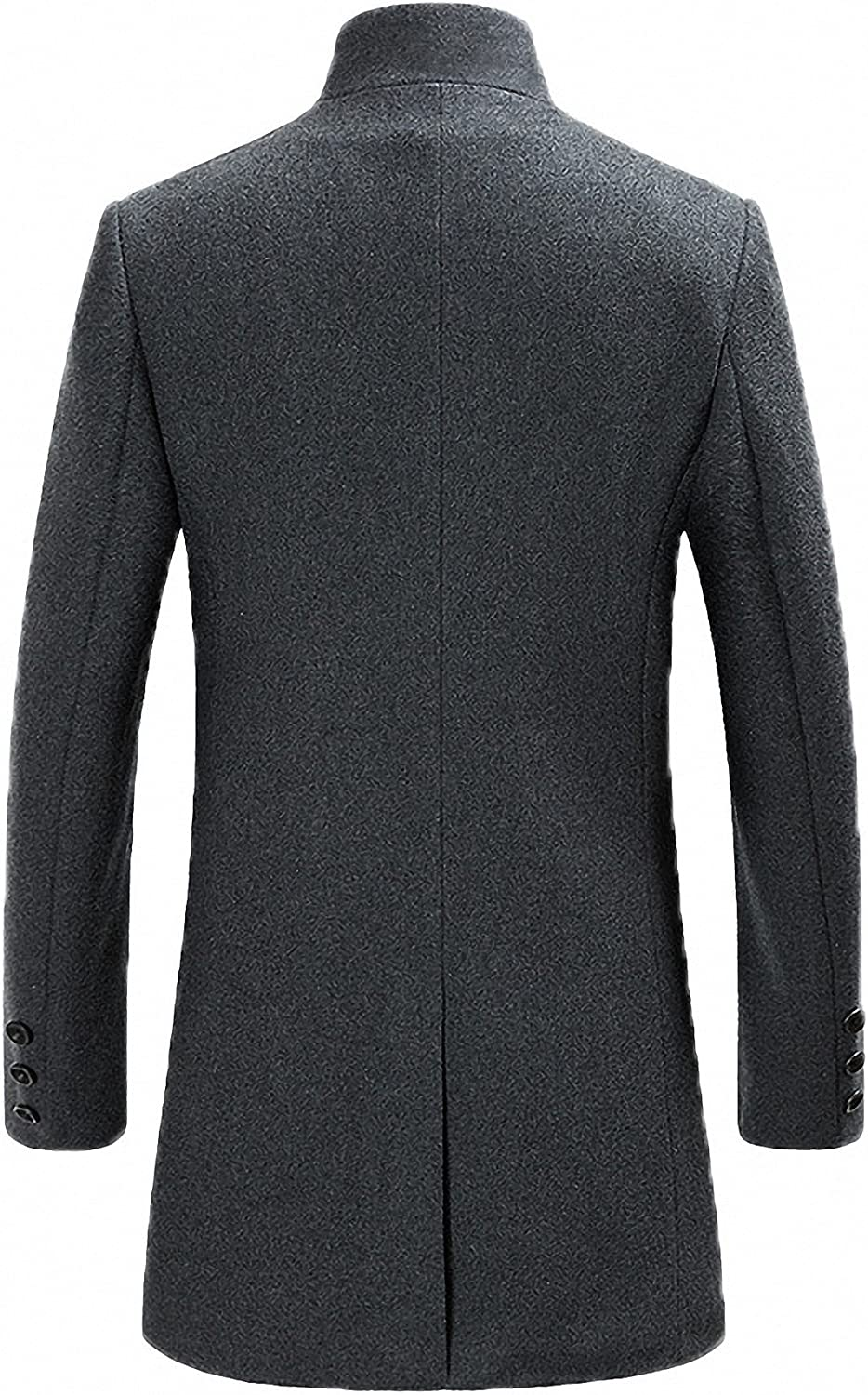 FASHINTY Mens Classical France Style Stand Collar Wool Jacket #00001W