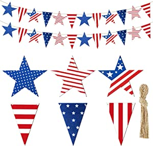 Patriotic Star Garland Party Decorations 4.92 Feet 4th of July and Wooden Triangle Garland Hanging Garland for 4th of July Patriotic Party Indoor Outdoor Hanging Decor, 12 Stars,12 Triangles