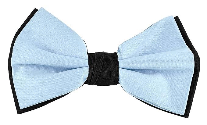 f34b48ec2bb Moda Di Raza - Mens Formal Two Tone Designer Self Bow Tie Black - Baby Blue
