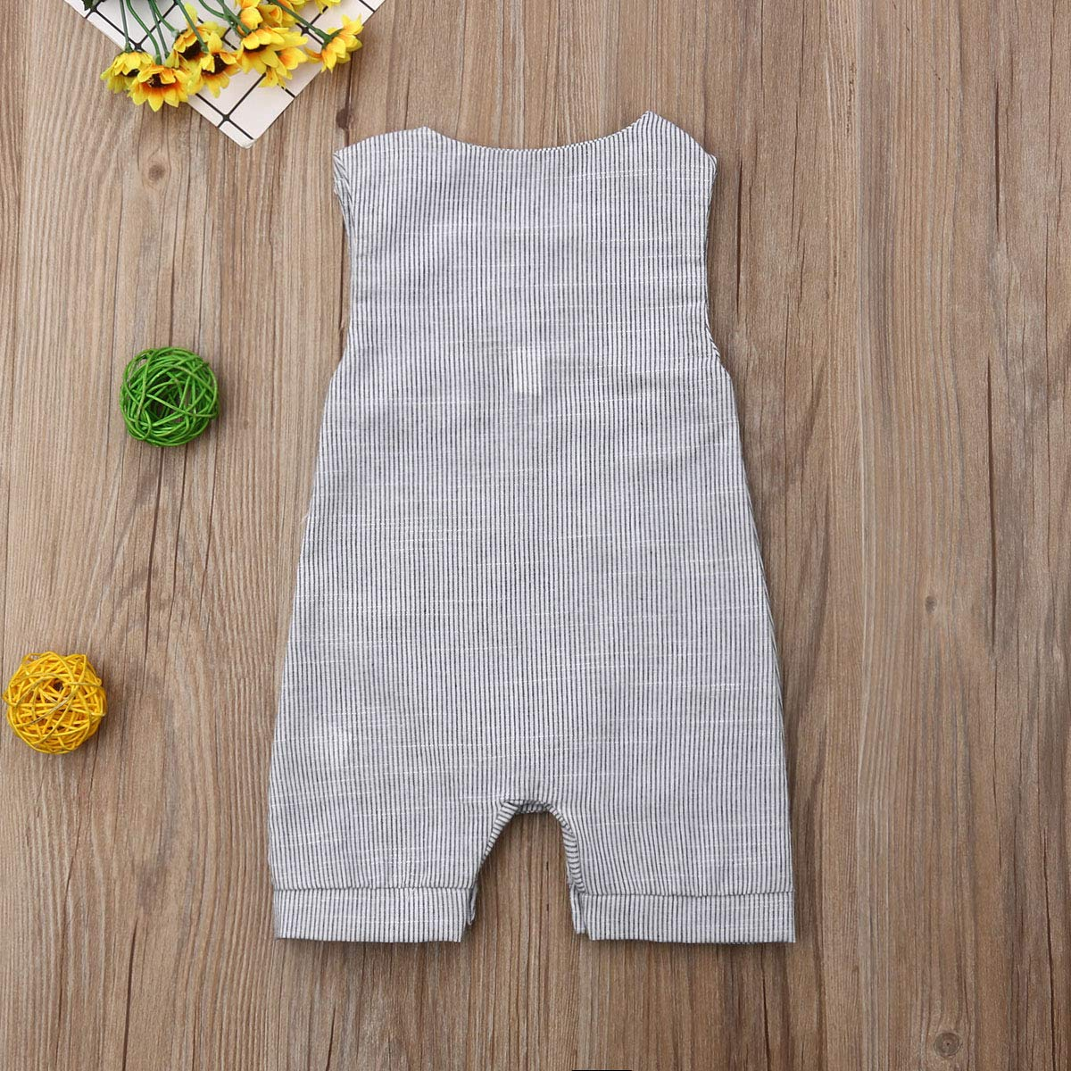 0-18M MSDMSASD Newborn Infant Baby Boy Romper Striped Sleeveless Clothes Jumpsuit with Pocket