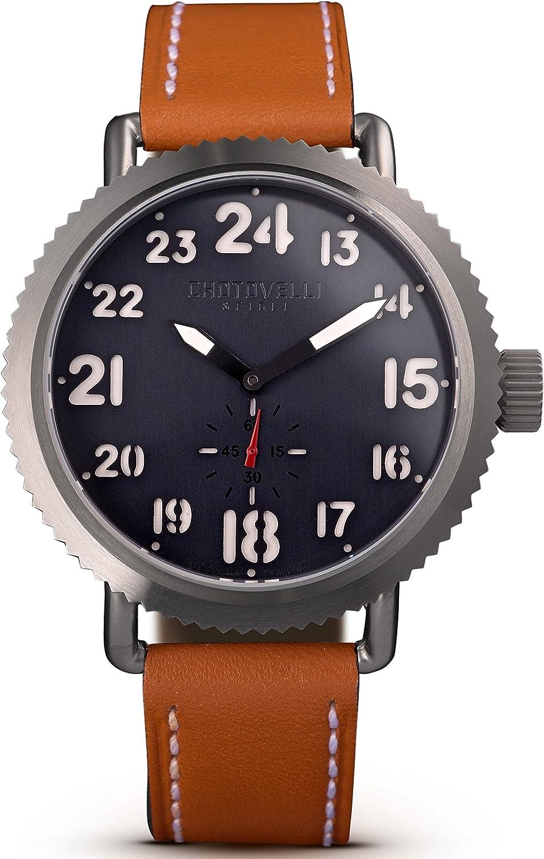 Chotovelli Men s Pro-Aviation Watch Sapphire Crystal Italian Leather Strap 7200