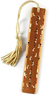 product image for Journey Quote with Footprints Engraved Wooden Bookmark on Sapele with Gold Tassel