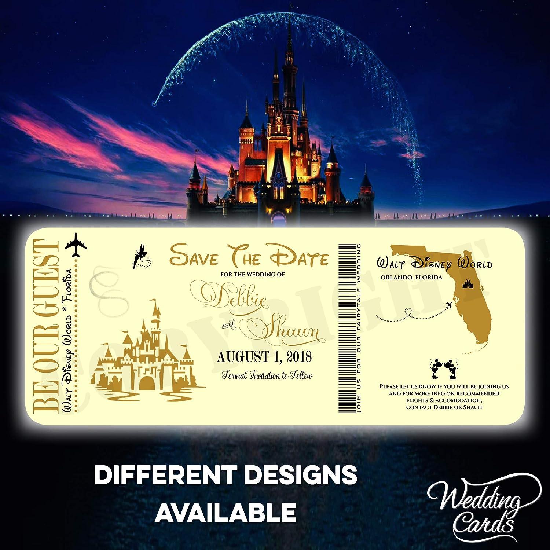 Save the Date Aschenputtel Disney Mickey Minnie Hochzeit Geburtstag Ticket Einladungen Party Einladung Mickey Minnie Ariel Personalisierte Einladung