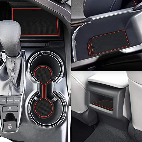 Marchfa Door Liner Cup Holder Interior Mats Custom Fit For Toyota Camry 2018 2019 Door Accessories Cup Holder Inserts 16 Pcs Red