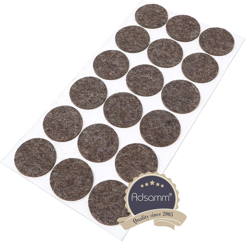40 deslizadores de fieltro de lana de 18 mm de di/ámetro color marr/ón redondos 3 mm de grosor de fieltro de lana Adsamm/® autoadhesivos