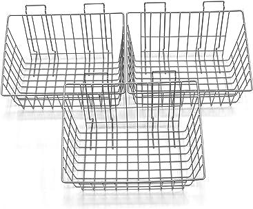 Proslat 13022 15-Inch x 11-Inch Ventilated Wire Basket Designed for Proslat PVC Slatwall Renewed 3-Pack
