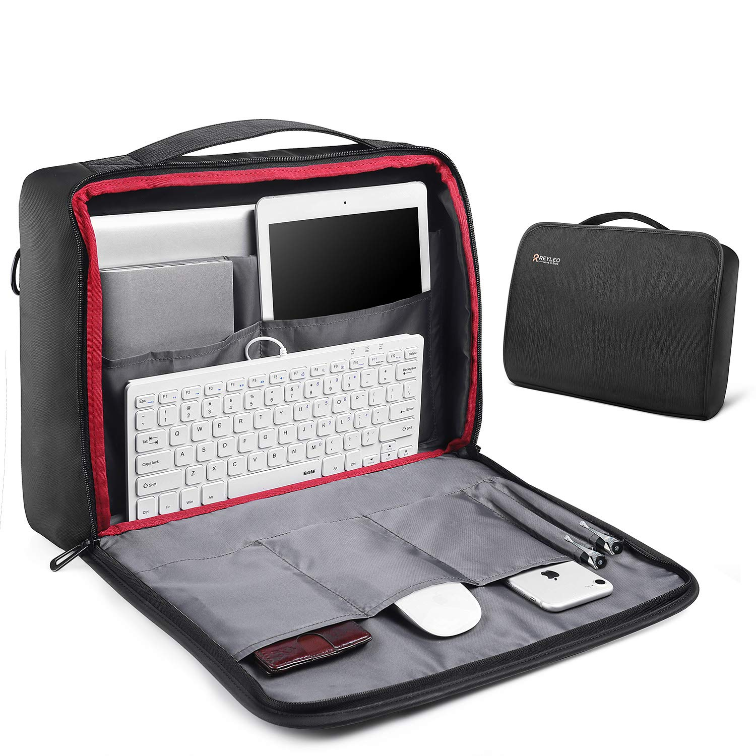 Water Resisatant Business Messenger Briefcases for Men Women Fits 15.6 Inch Laptop Computer Tablet LCB1A Travel Briefcase with 9+ Compartments REYLEO 15.6 Inch Laptop Bag 180/° Opens Shoulder Bag