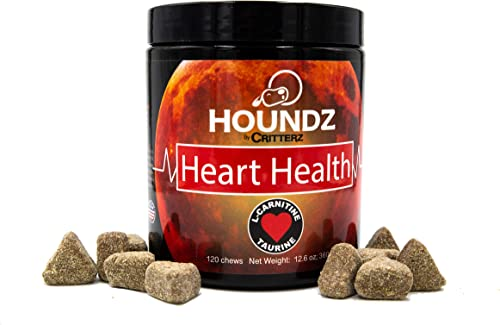 Houndz Heart Health Beef Liver and Peanut Butter Flavored Chews for Dogs, 120 Heart Health Chews with Taurine, L-Carnitine, Hawthorn Berry, Dandelion Root and Essential Vitamins