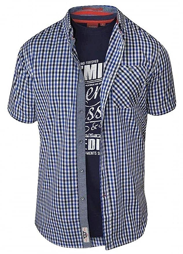 D555 Mens Fidel Regular Short Sleeve Check Shirt