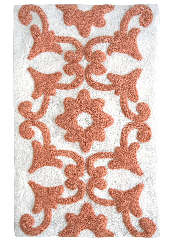 Amazon.com: Jessica Simpson Bali Yarn Dyed Cotton Bath Rug, Burnt Coral/White:  Home U0026 Kitchen