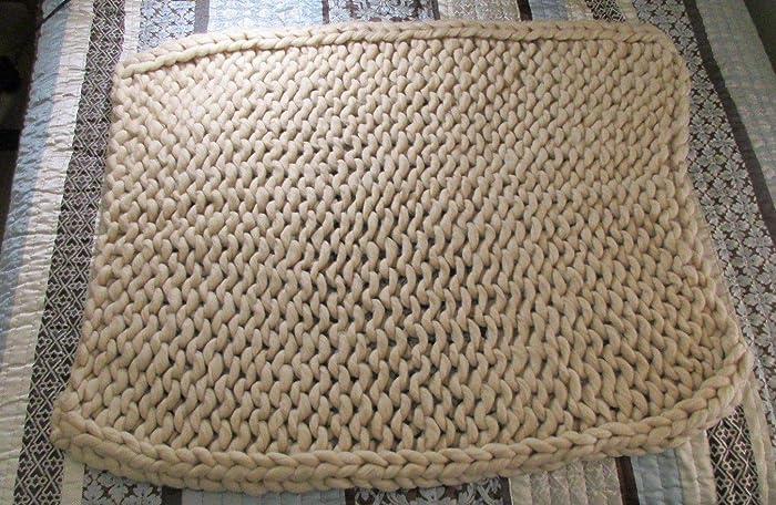 Amazon Chunky Knit Lap Blanket Merino 34x34 Beige Handmade