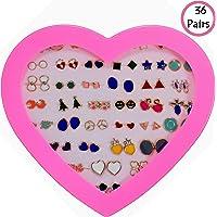 KOOCHI KOO 36 Pair Stylish Earring Stud Combo Set with Heart Shape Box for Girls and Women