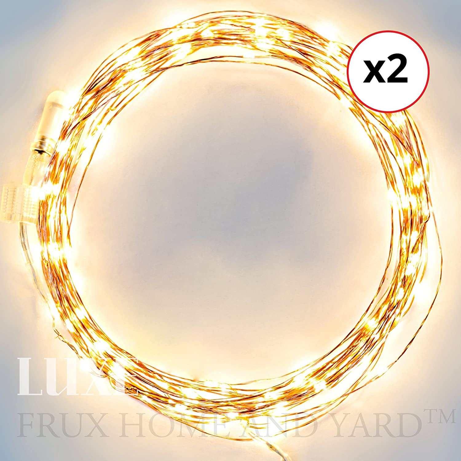 EXTENSIONS for Luxe EXTENDABLE Fairy Star Light Set - 2 x 39ft extensions Warm White LED Copper Wire Indoor - Outdoor ONLY FOR USE WITH Luxe EXTENDABLE Fairy Star Light Set by Frux Home and Yard