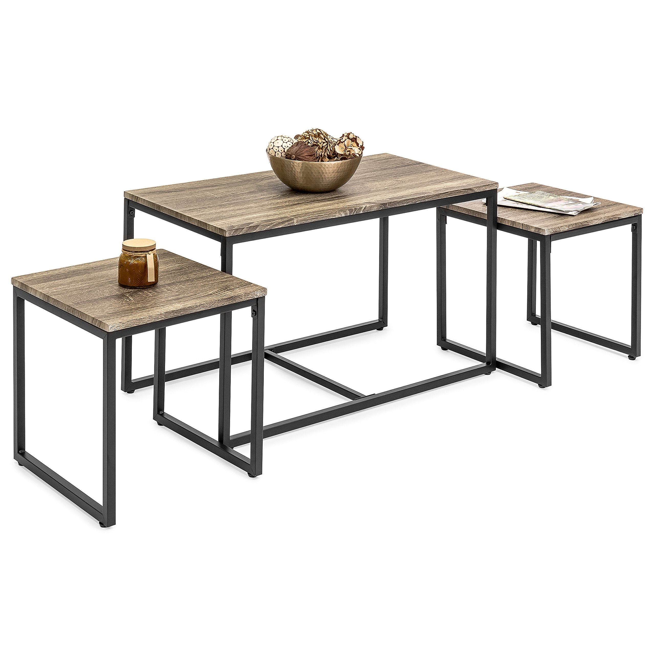 Best Choice Products 3-Piece Modern Nesting Coffee Accent Table Living Room Furniture Lounge Set w/ 2 End Tables - Brown by Best Choice Products