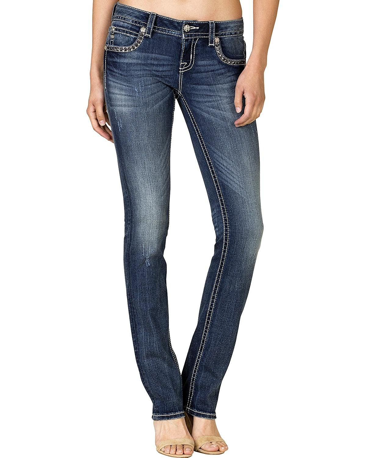 Miss Me Women's Dark Wash Flap Pocket Straight Jeans - Jp7719t Mk 621