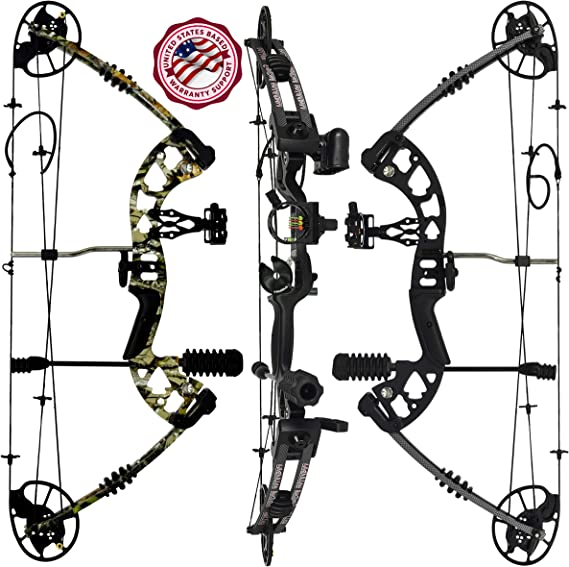 """PREDATOR ARCHERY Raptor Compound Hunting Bow Kit: Limbs Made in USA   Fully Adjustable 24.5-31"""" Draw 30-70LB Pull   Up to 315 FPS & Guarantee   5 Pin Lighted Sight"""