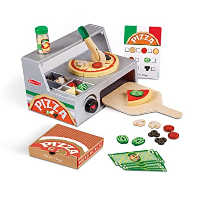 Melissa & Doug Top and Bake Wooden Pizza Counter Play Food Set (Pretend Play, Helps Support Cognitive Development, 34 Pieces, Great Gift for Girls and Boys - Best for 3, 4, 5 Year Olds and Up): Toys & Games