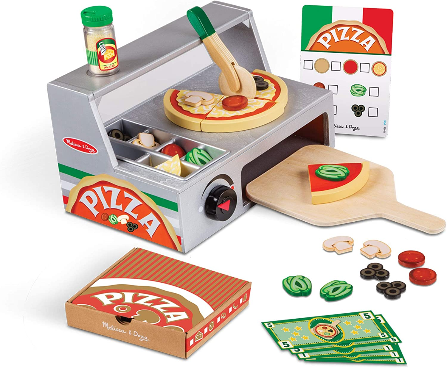 Melissa & Doug Top and Bake Wooden Pizza Counter Play Food Set (Pretend Play, Helps Support Cognitive Development, 34 Pieces, Great Gift for Girls and Boys - Best for 3, 4, 5 Year Olds and Up)