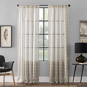 Clean Window Twill Stripe Allergy/Pet Friendly Anti-Dust Sheer Curtain Panel, 52