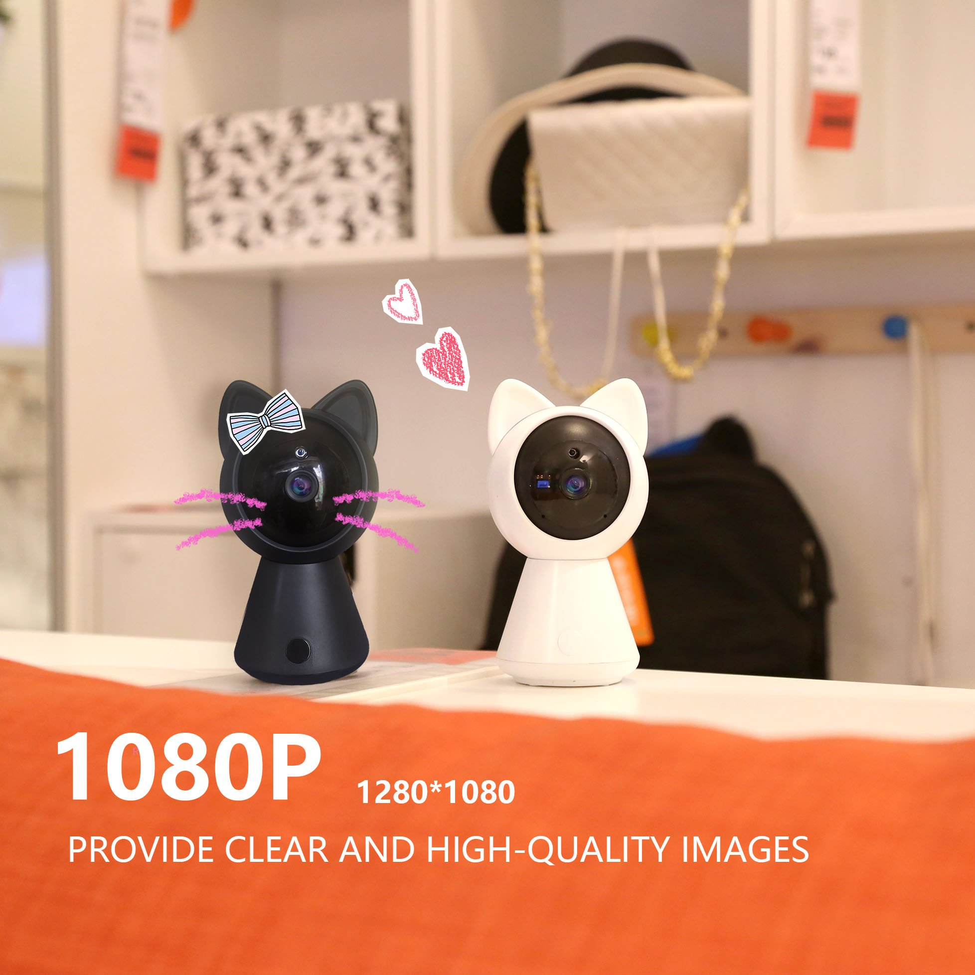 Pet IP Camera WiFi Cam HD 1080P Cute Cat camera Home Security Surveillance Wireless System Dome Camera Nanny Baby Cam Indoor Monitor Pan/Tilt with Night Vision 2-Way Audio Motion Detection alarm B by LUFASA (Image #7)