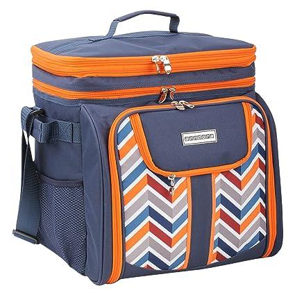 ed240bb442720 anndora Picknicktasche blau orange Kühltasche inkl. Zubehör 4 Personen 29  Teile  Amazon.de  Garten