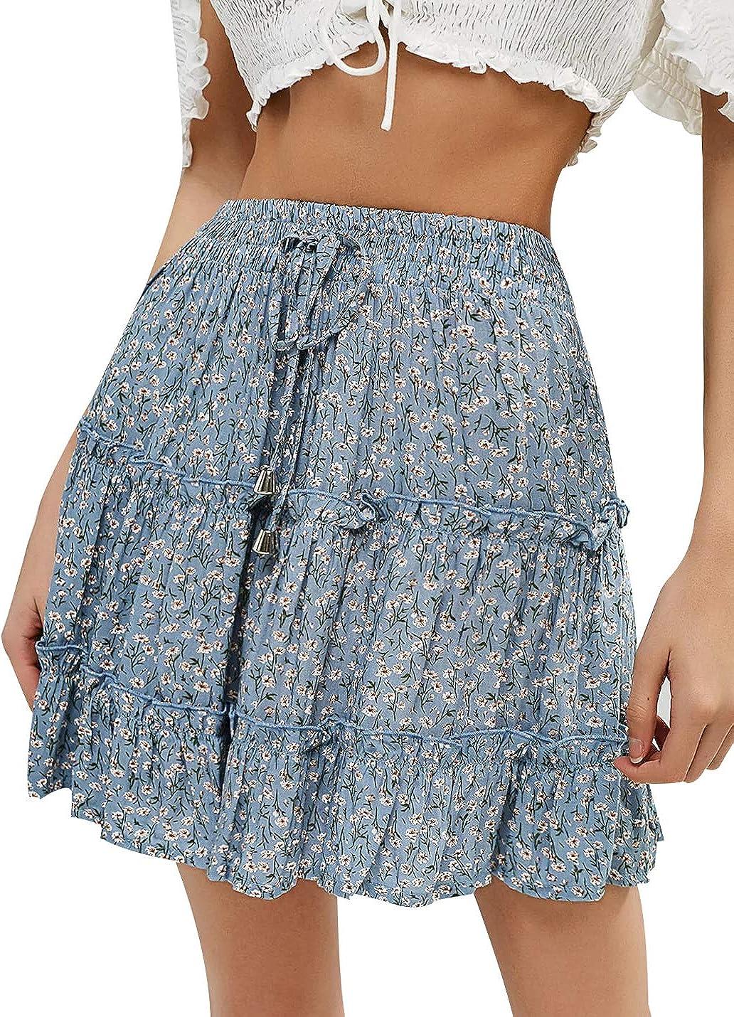 Lady Women High Waist Elastic Ruffle Short Mini Skirt Beach Holiday Mini Dresses