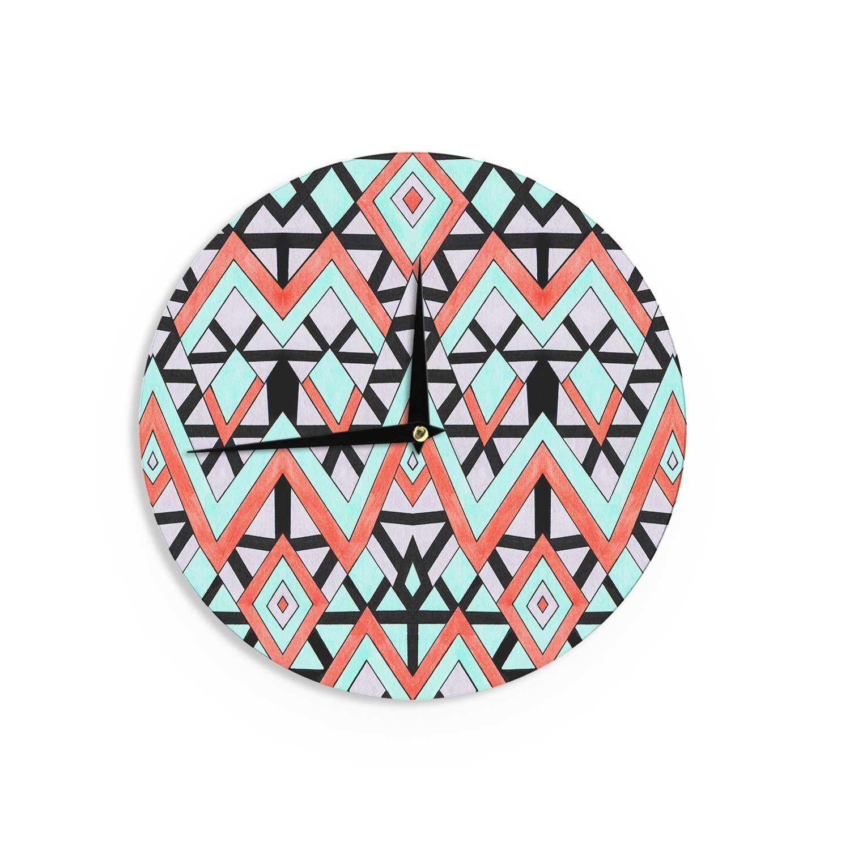 Kess InHouse Pom Graphic Design Geometric Mountains Orange Teal Wall Clock 12-Inch