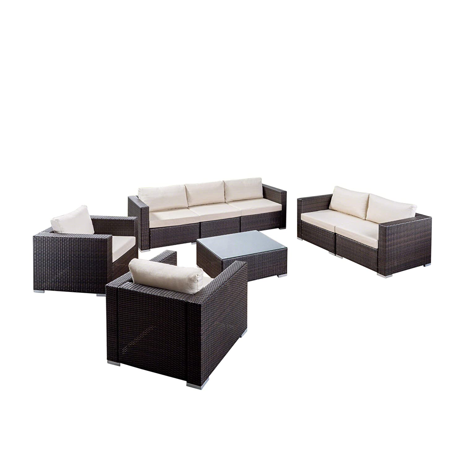 Great Deal Furniture | Samuel Outdoor 8-Piece Wicker/Aluminum Sofa Chat Set with Cushions | Multibrown and Beige