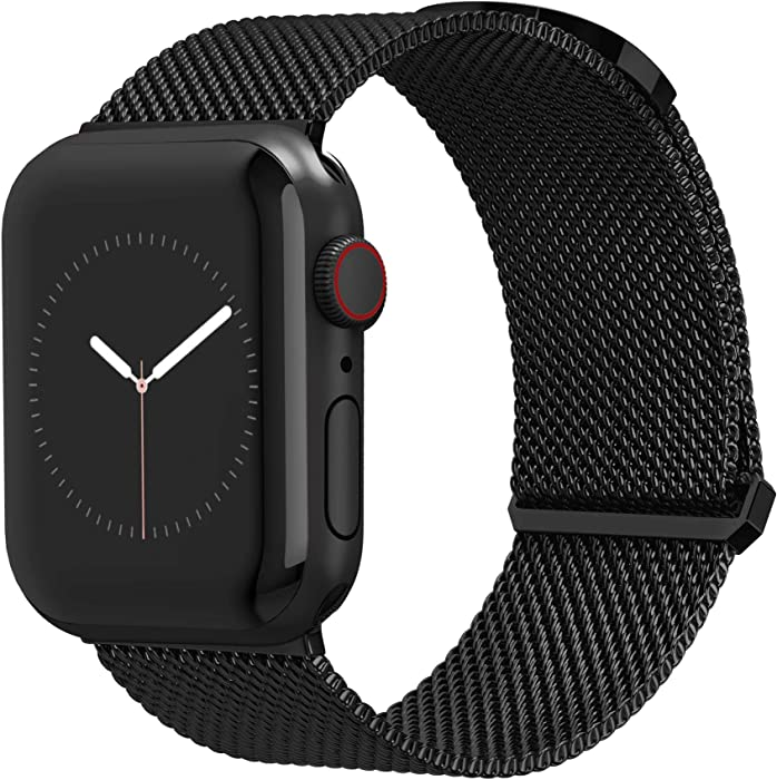 Compatible for Apple Watch Band 42mm / 44mm by TalkWorks - Comfort Fit Mesh Loop Stainless Steel Adjustable Magnetic Strap for iWatch Series 4, 3, 2, 1 - Black