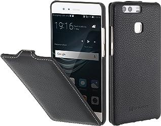 StilGut UltraSlim Case, custodia in vera pelle flipcase con chiusura verticale cover sottile per Huawei P9