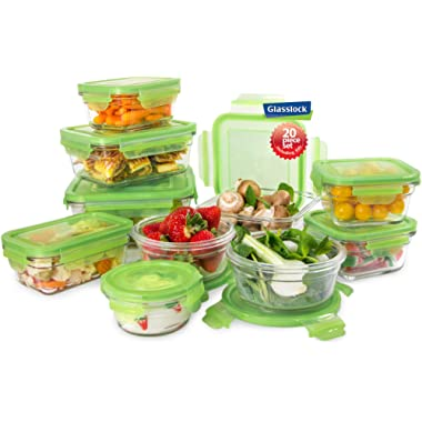 Tempered Glasslock Storage Containers 20pc set Green Lids Microwave & Oven Safe Airtight Anti Spill Proof