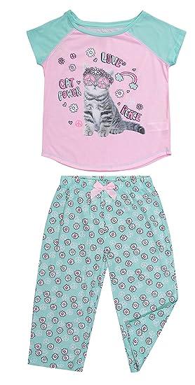 a6077e5ea58 Girls Sleepwear Raglan Short Sleeve Sleep Shirt & Capri Pants Pajama Set  (XS (4