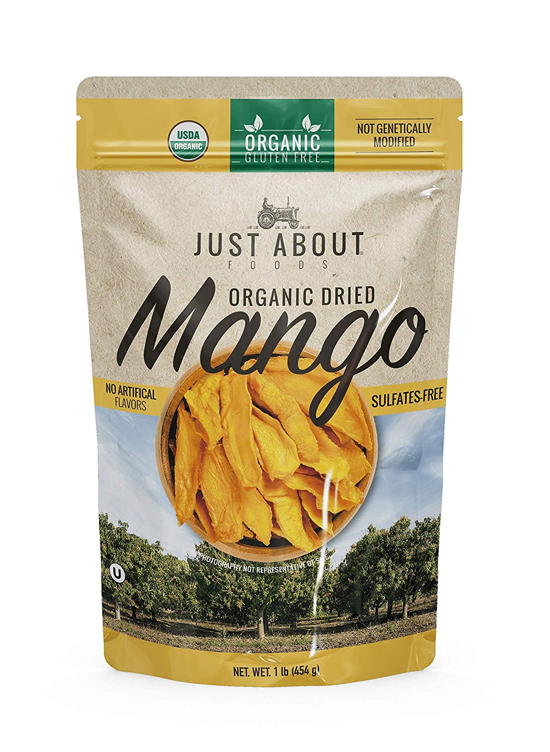 Just About Foods Organic Dried Mango 1 Pound No Artifical Flavor Sulfates Free Kosher, Gluten Free 1 Pack