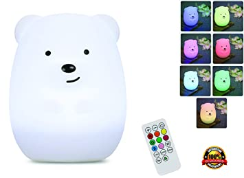 Night Light for Kids with Wireless Remote - Portable Multicolor LED Animal Silicone Nursery Light - 8 Colors & Breathing Mode Timing for a Tranquil and Relaxing Sleep for Children & Babies